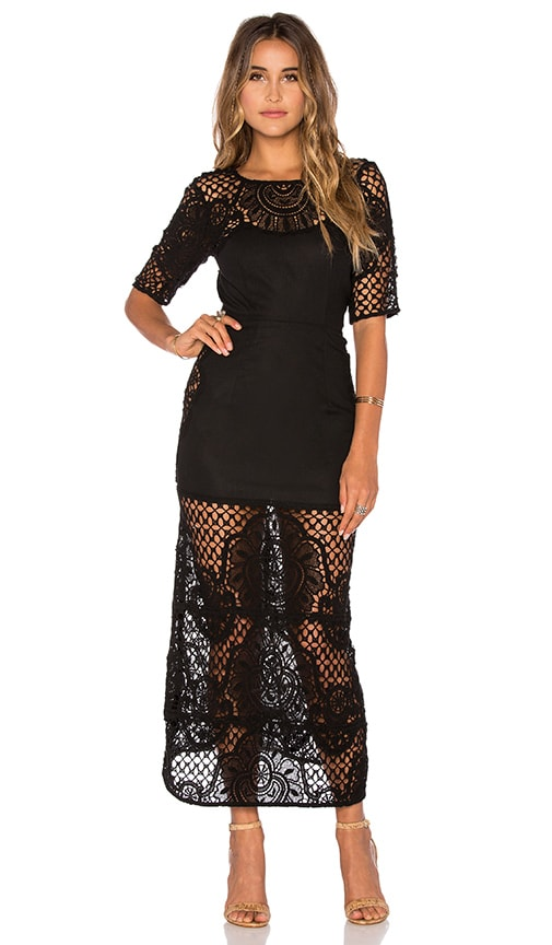 For Love & Lemons Gracey Midi Dress in Black