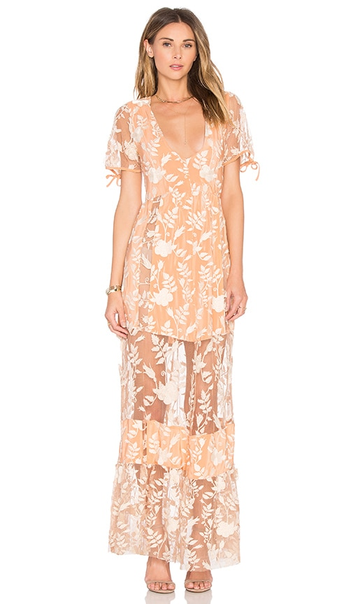 For Love & Lemons Mia Maxi Dress in Peach