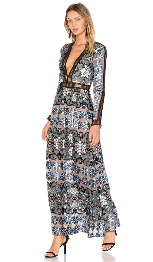 For Love & Lemons Juliet Maxi Dress in Blue