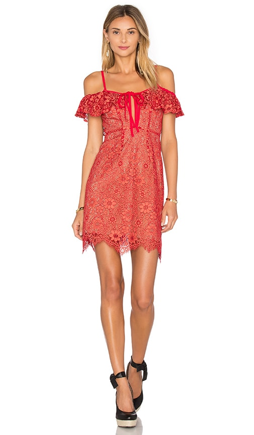 For Love & Lemons Rosemary Mini Dress in Cherry