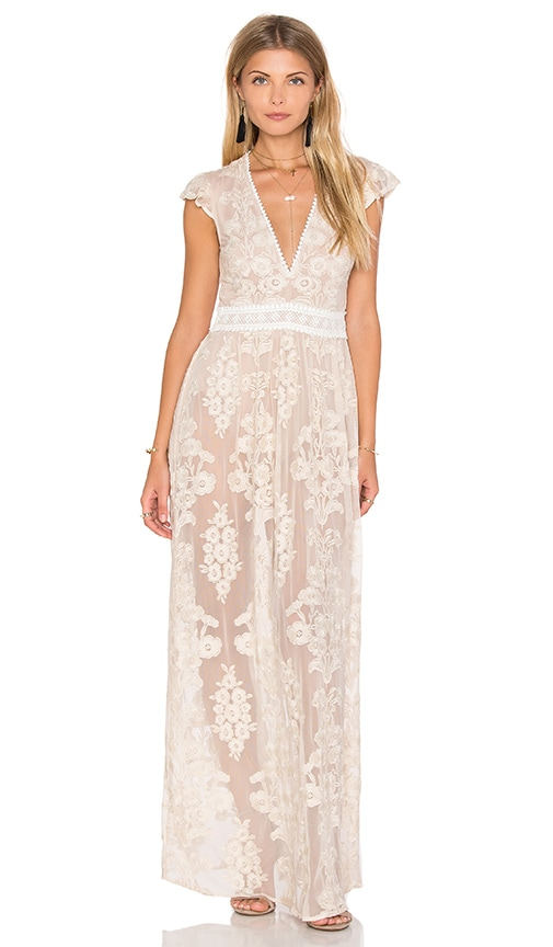 For Love & Lemons x REVOLVE Violetta Dress in Nude Ivory