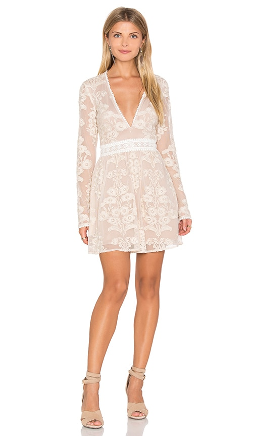 For Love & Lemons x REVOLVE Violetta Dress in Beige