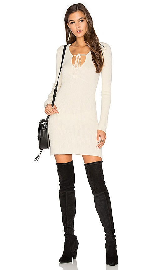 For Love & Lemons KNITZ Delancey Dress in Cream