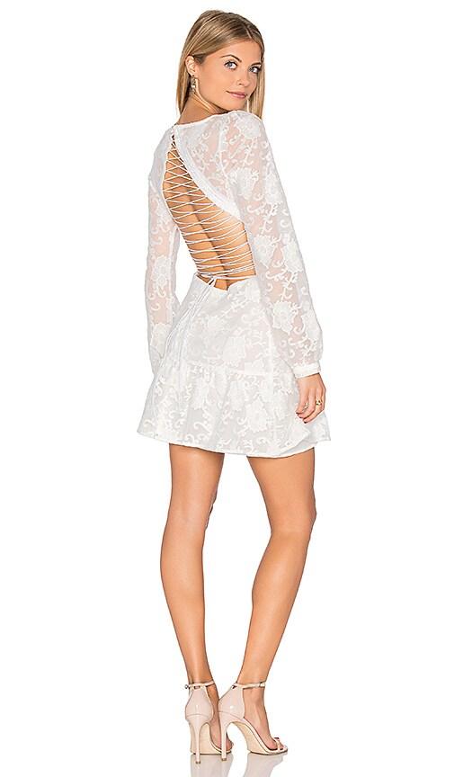 For Love & Lemons Jolene Lace Up Dress in White