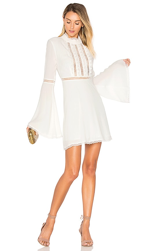 For Love & Lemons Willow Bell Sleeve Dress in White
