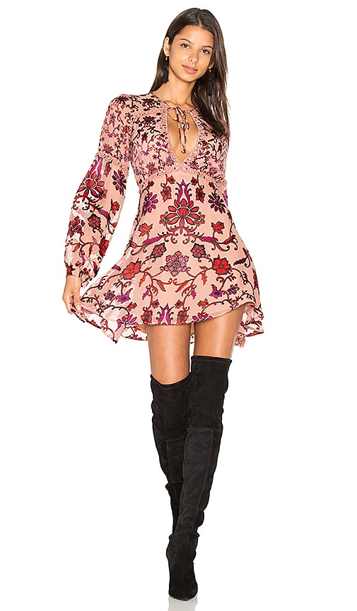 For Love & Lemons Saffron Mini Dress in Rose