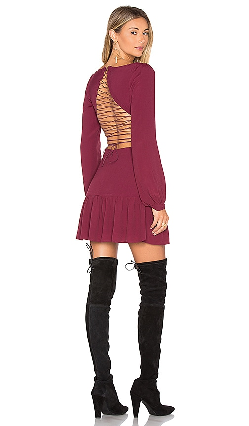 For Love & Lemons x REVOLVE Lace Up Dress in Burgundy
