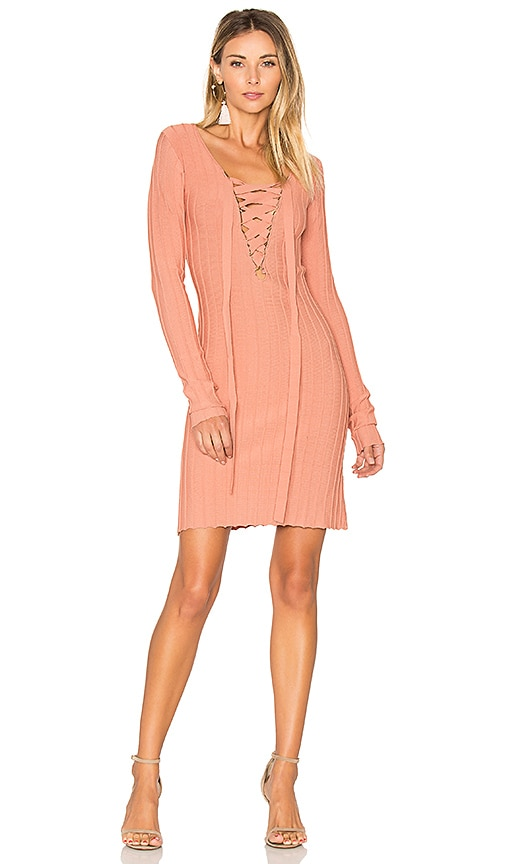 For Love & Lemons x KNITZ Simone Lace Front Sweater Dress in Pink