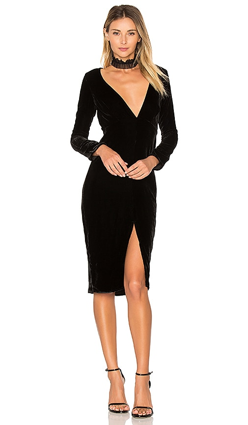 For Love & Lemons Collette Midi Dress in Black