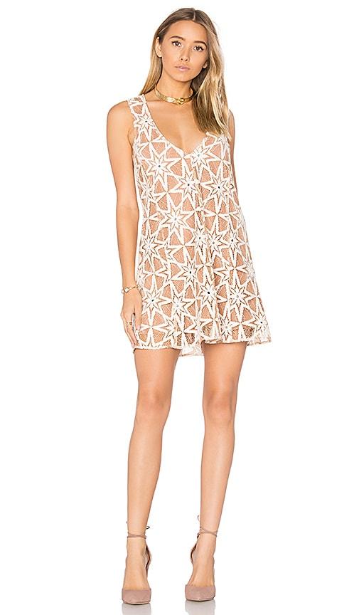 For Love & Lemons Metz Mini Dress in Tan