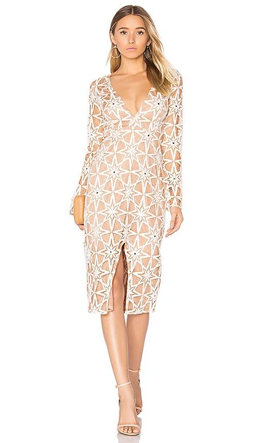 For Love & Lemons Metz Midi Dress in Tan