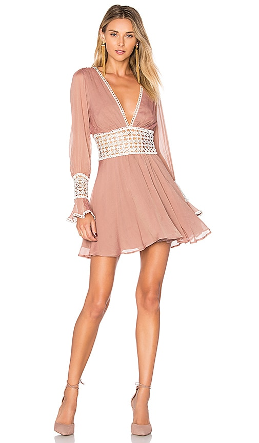 For Love & Lemons Celine Mini Dress in Blush