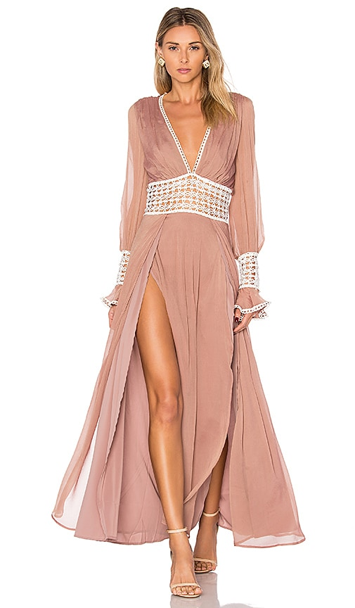 For Love & Lemons Celine Maxi Dress in Blush