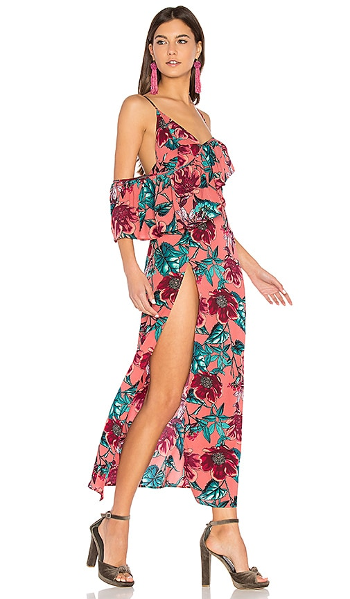 For Love & Lemons Flamenco Maxi Dress in Pink