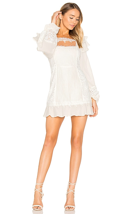 For Love & Lemons Crema Silk Linen Dress in White