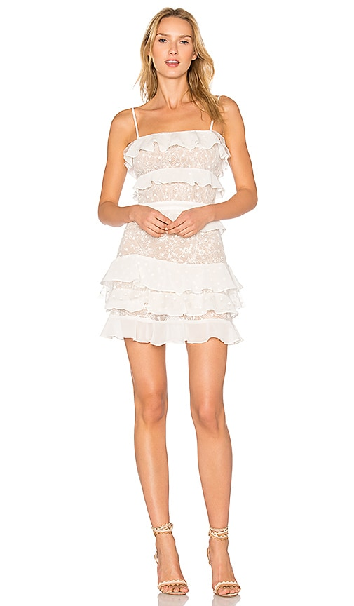 For Love & Lemons Cosmic Tiered Lace Dress in White