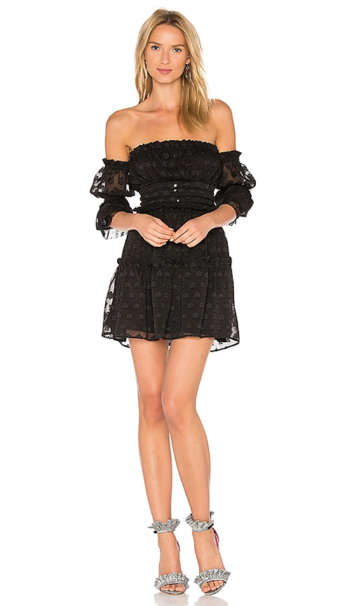 For Love & Lemons Modern Love Off Shoulder Dress in Black