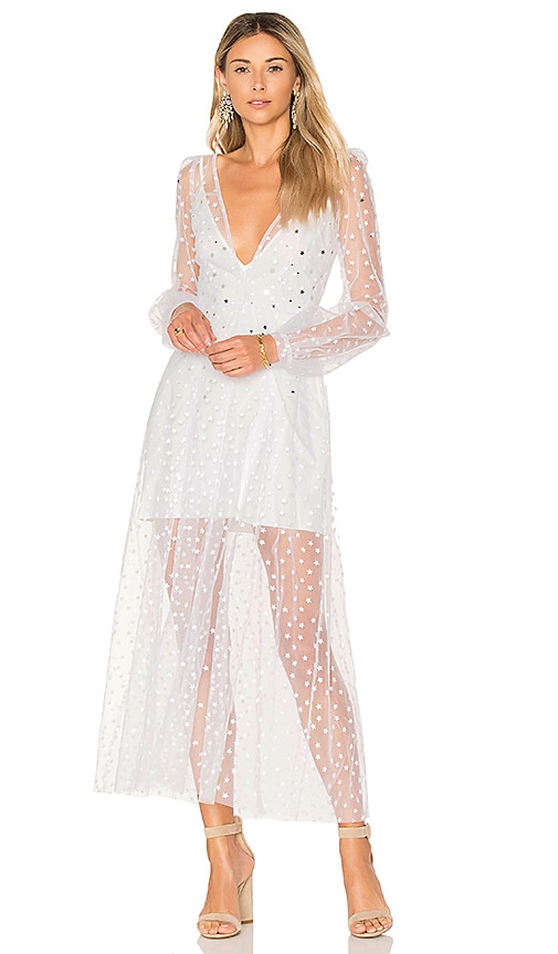 For Love & Lemons All That Glitters Maxi Dress in White