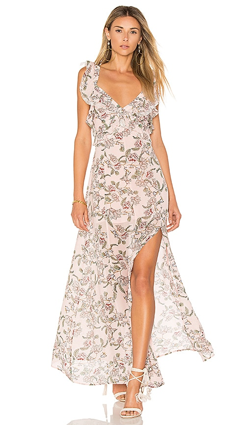 For Love & Lemons Bee Balm Floral Maxi Dress in Pink