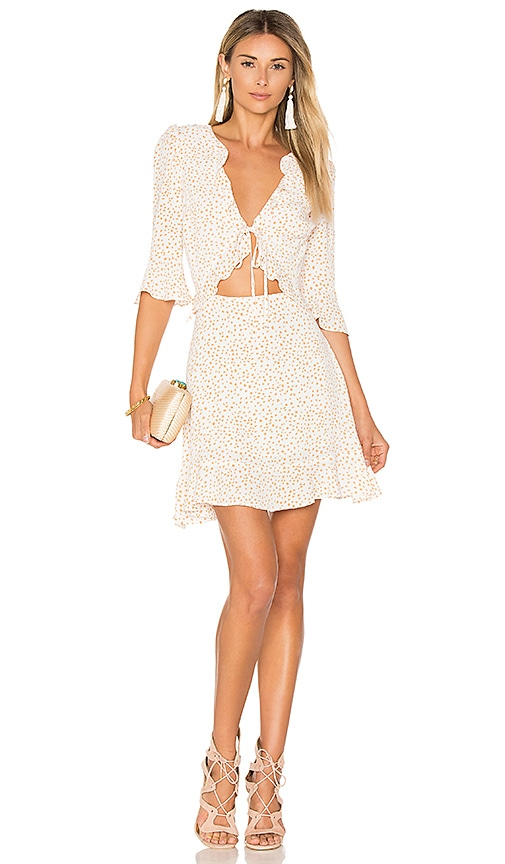 For Love & Lemons Nostalgic Tie Front Dress in White