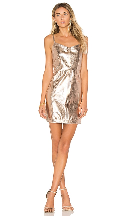 For Love & Lemons Luna Metallic Dress in Metallic Gold