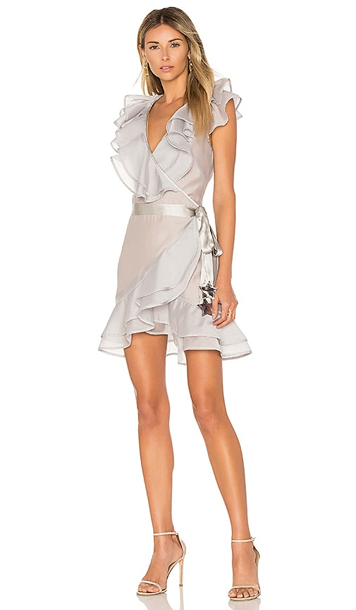 For Love & Lemons Bowie Star Organza Dress in Gray
