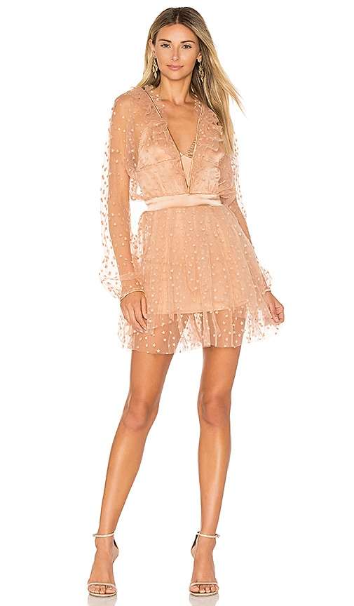 For Love & Lemons All That Glitters Mini Dress in Beige
