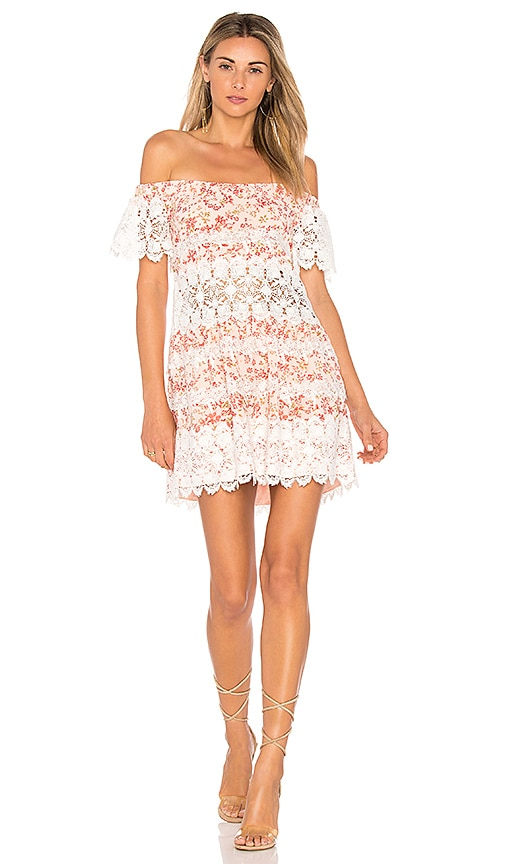 For Love & Lemons Cadence Off The Shoulder Dress in Pink