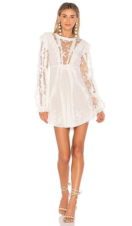 For Love & Lemons Rosebud Ruffle Mini Dress in Ivory