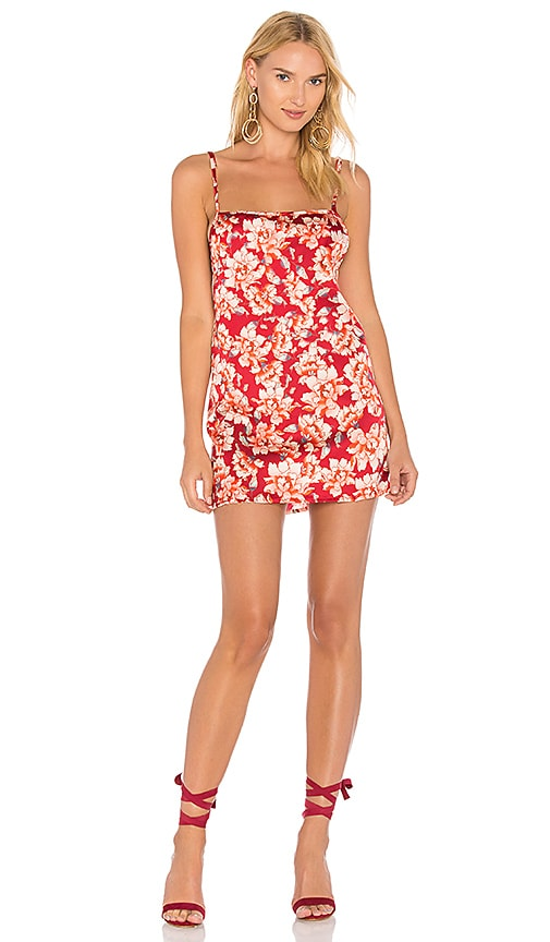 For Love & Lemons Melanie Slip Dress in Red