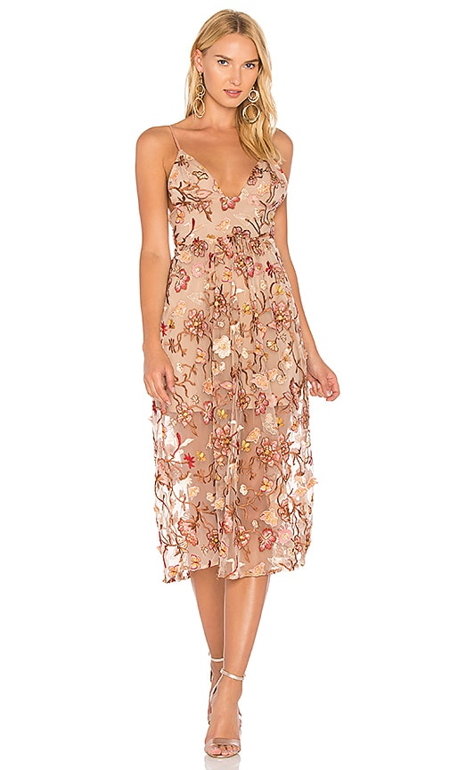 For Love & Lemons Botanic Midi Dress in Brown