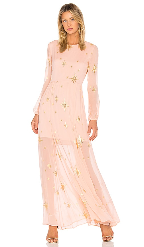For Love & Lemons Gilded Star Maxi Dress in Pink