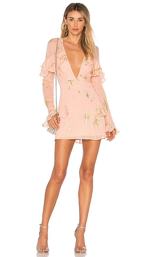 For Love & Lemons Gilded Star Mini Dress in Pink