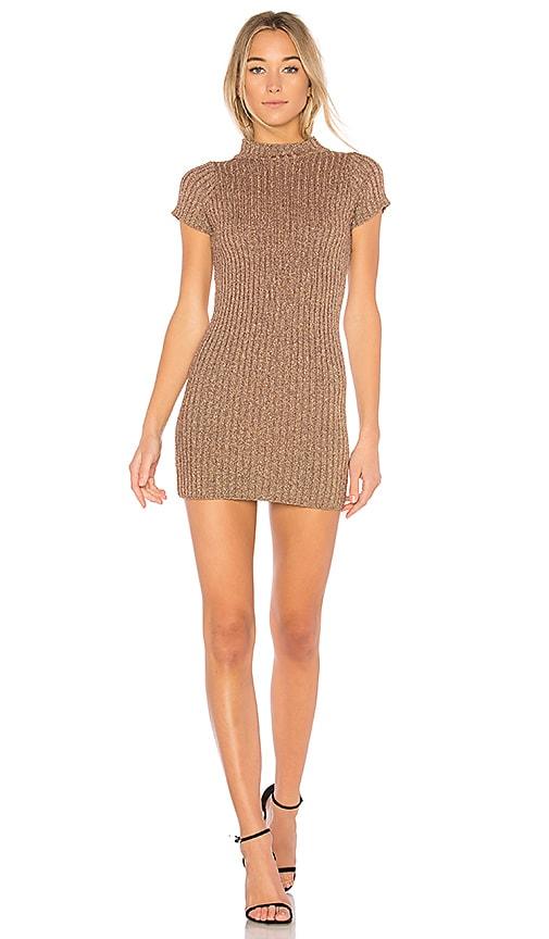 For Love & Lemons Sparkle Knit Metallic Dress in Metallic Bronze