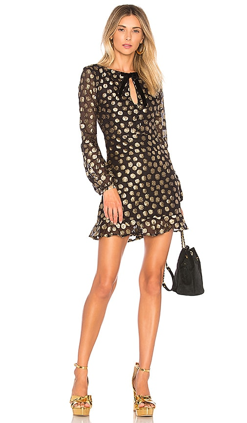 For Love & Lemons Lottie Bell Sleeve Dress in Black
