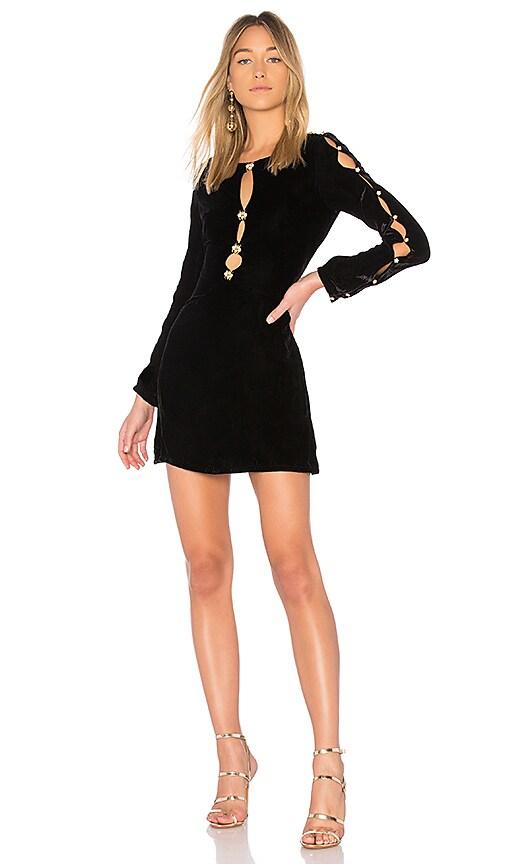 For Love & Lemons Beatrix Velvet Button Sleeve Dress in Black
