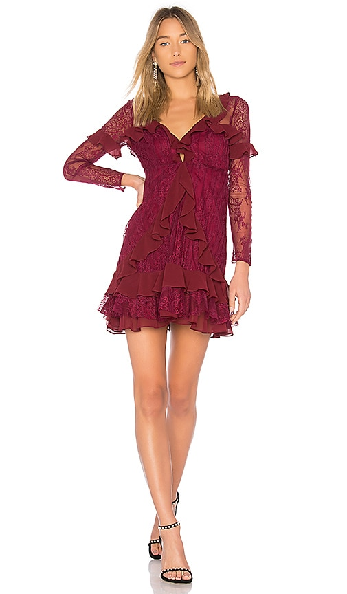 For Love & Lemons Daphne Lace Mini Dress in Burgundy