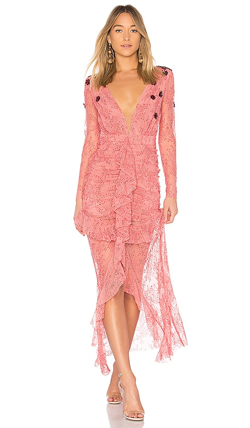 For Love & Lemons Daisy Lace Midi Dress in Pink