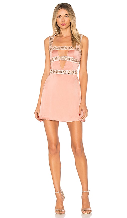 For Love & Lemons Opal Beaded Mini Dress in Pink