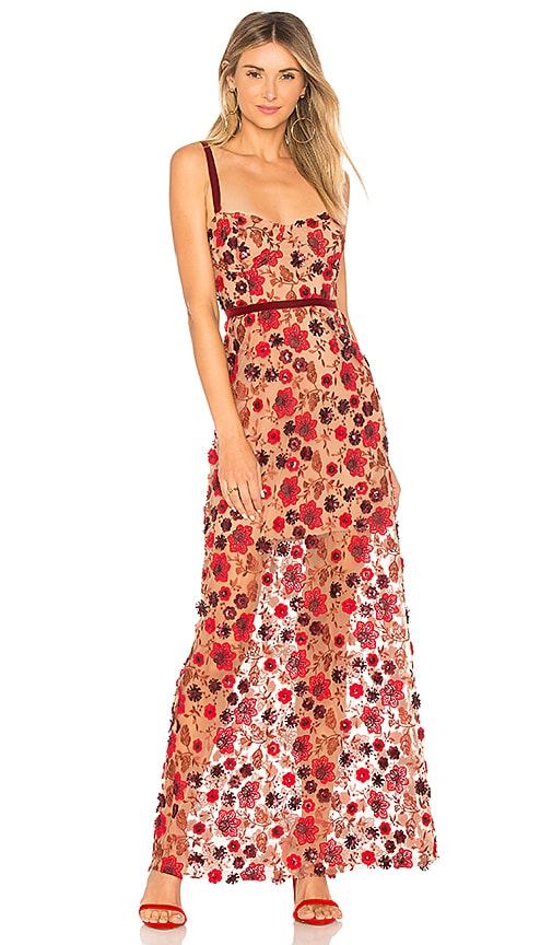 For Love & Lemons Beatrice Strappy Maxi Dress in Red