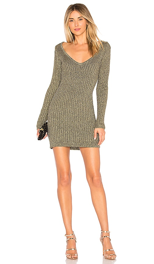 For Love & Lemons Sparkle Knit Metallic Long Sleeve Dress in Metallic Gold