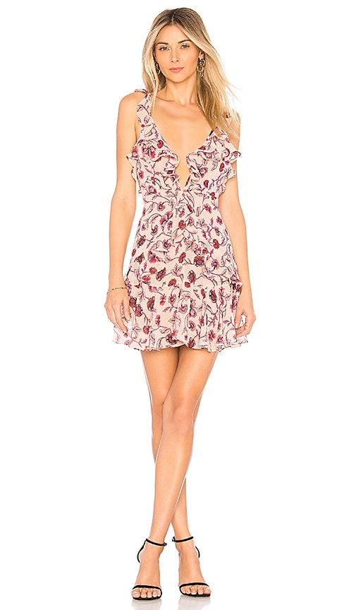 For Love & Lemons Poppy Mini Dress in Rose