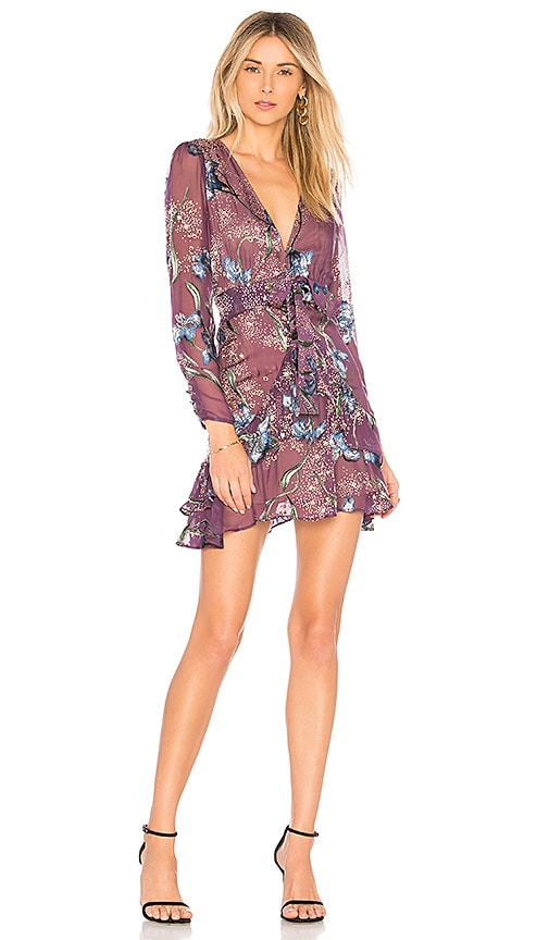 For Love & Lemons Cleo Floral Party Dress in Purple