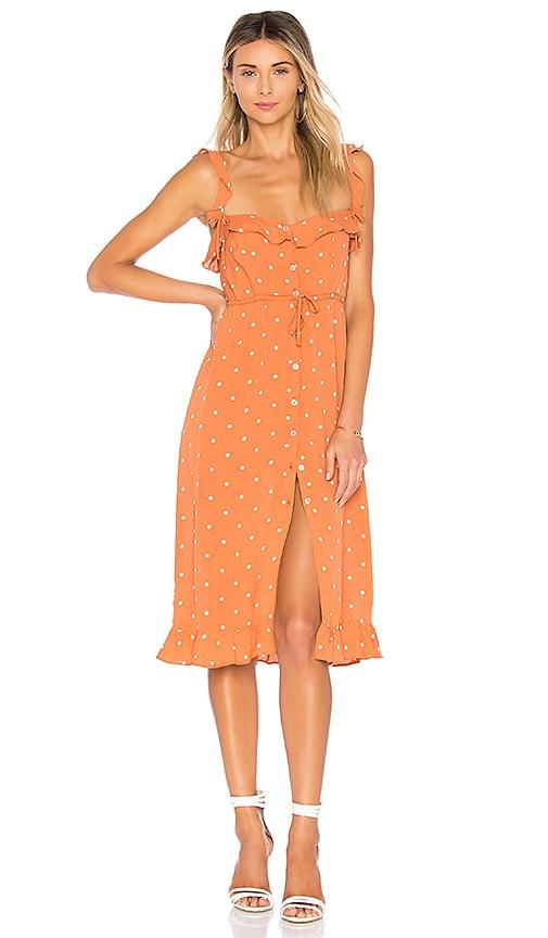 For Love & Lemons Natalia Dot Midi Dress in Burnt Orange