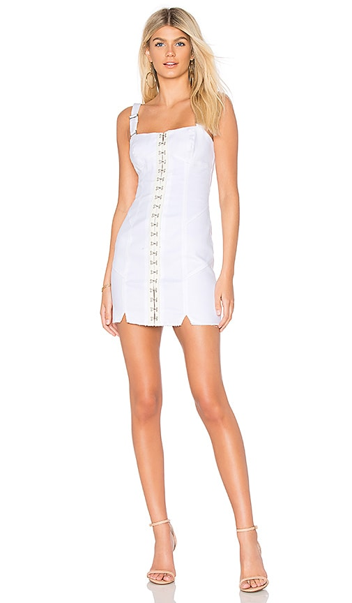 9bebafce766 For Love   Lemons Monika Hook Front Mini Dress in White Denim