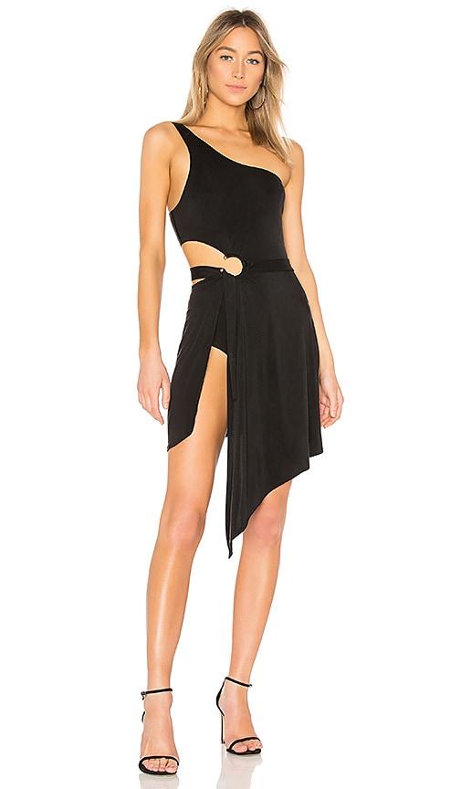 For Love & Lemons Aleja Midi Dress in Black