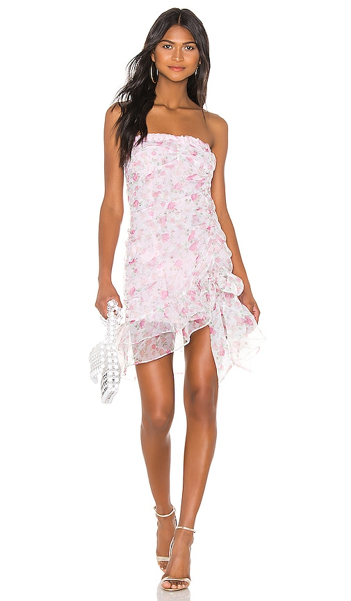 For Love & Lemons X REVOLVE Strapless Mini Dress in Pink & White Floral | REVOLVE