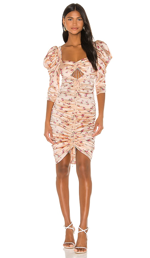For Love & Lemons Aster Floral Midi Dress in Peach Floral | REVOLVE