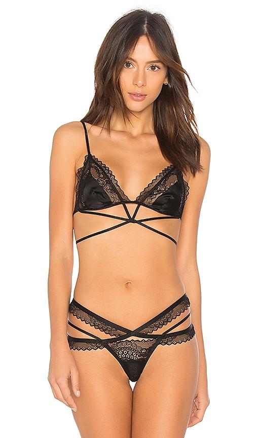 For Love & Lemons Karina Lace Triangle Bra in Black
