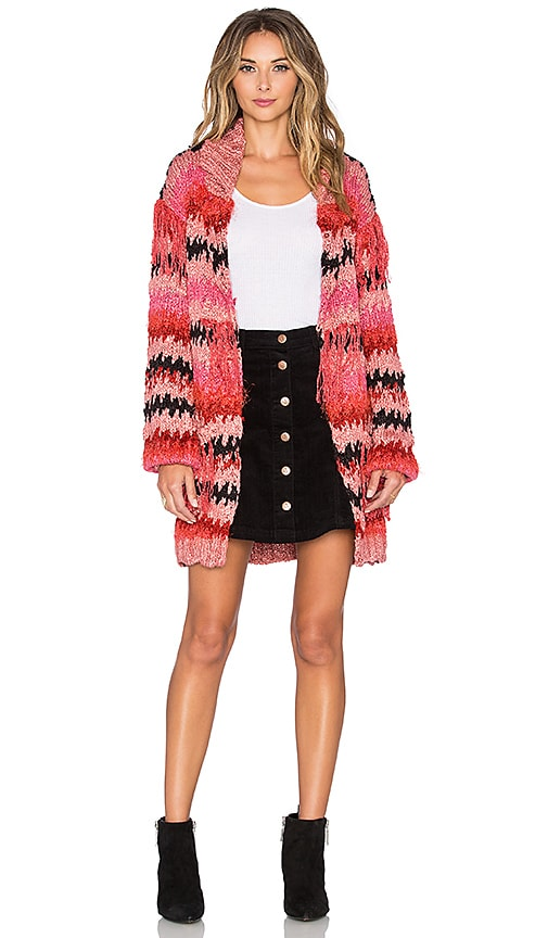 For Love & Lemons Crosby Fringe Cardigan in Pink & Black